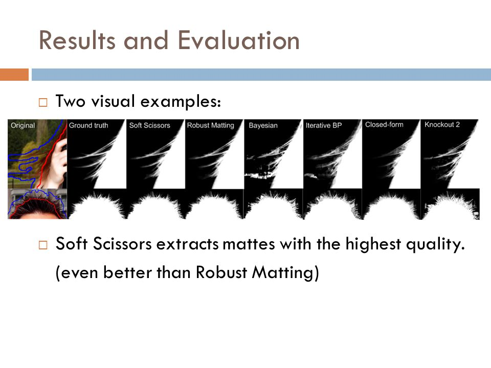 Results and Evaluation  Two visual examples:  Soft Scissors extracts mattes with the highest quality.
