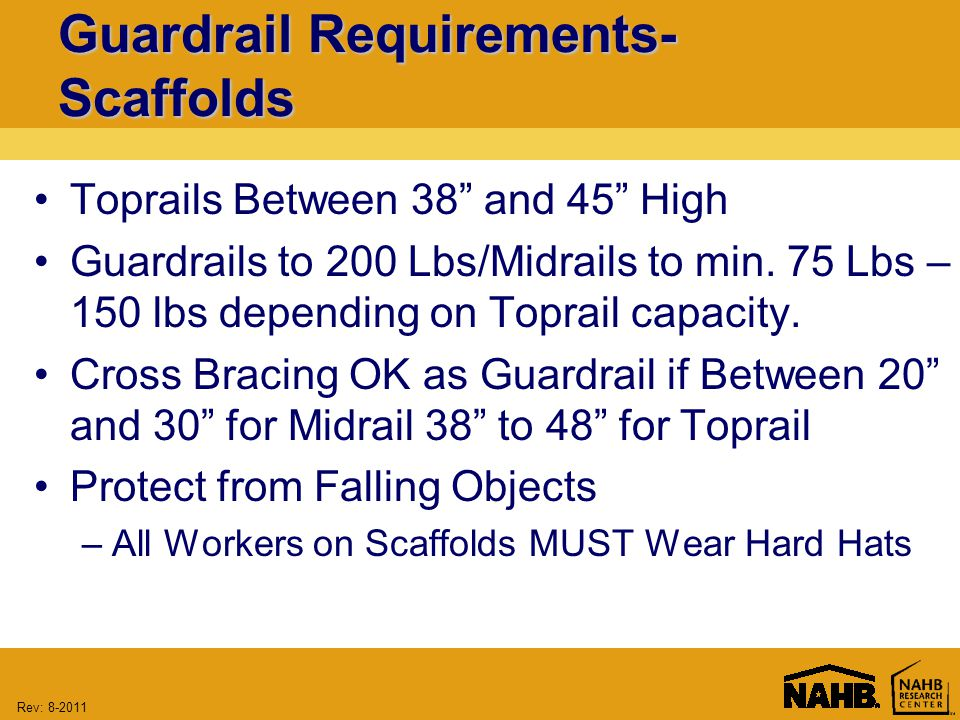 Rev: Guardrail Requirements- Scaffolds Toprails Between 38 and 45 High Guardrails to 200 Lbs/Midrails to min.