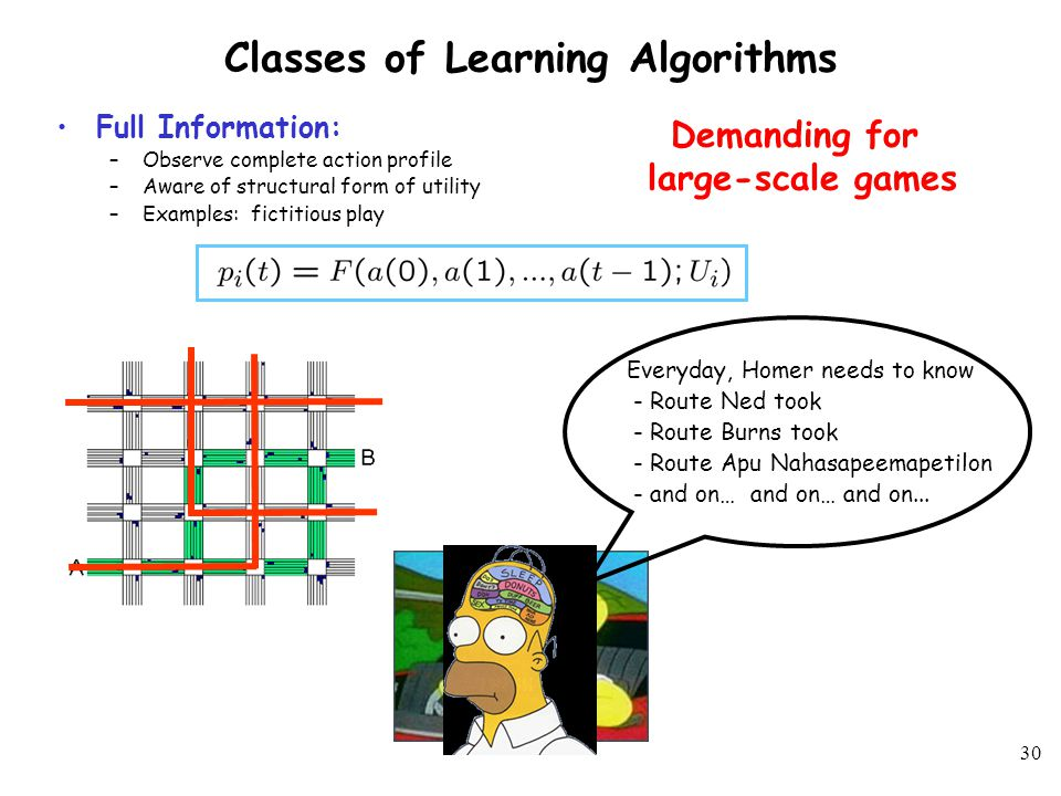 29 Existing Learning Algorithms and Results Infinite Memory Algorithms (all past actions are relevant) –Fictitious play Nash equilibrium in potential games (Monderer & Shapley, 1996) –Regret matching Coarse correlated equilibrium in all games (Hart & Mas-Colell, 2000) Nash equilibrium in two player potential games (Hart & Mas-Colell, 2003) –Joint Strategy Fictitious Play with Inertia Nash equilibrium in potential games (Marden et al., 2005) –Regret-Based Dynamics Nash equilibrium in potential games (Marden et al., 2007) Finite Memory Algorithms (fixed number of past actions are relevant) –Adaptive play Nash equilibrium in weakly acyclic games (Young, 1993) –Better reply process with finite memory and inertia Nash equilibrium in weakly acyclic games (Young, 2005) –Spatial Adaptive Play Optimal Nash equilibrium in potential games (Young, 1998) –Payoff-Based Dynamics Nash equilibrium in weakly acyclic games (Marden et al., 2007) Different algorithms, different demands.