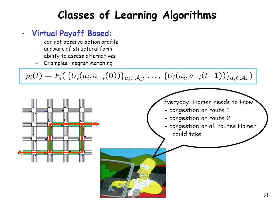 30 Classes of Learning Algorithms Full Information: –Observe complete action profile –Aware of structural form of utility –Examples: fictitious play Demanding for large-scale games Everyday, Homer needs to know - Route Ned took - Route Burns took - Route Apu Nahasapeemapetilon - and on… and on… and on...