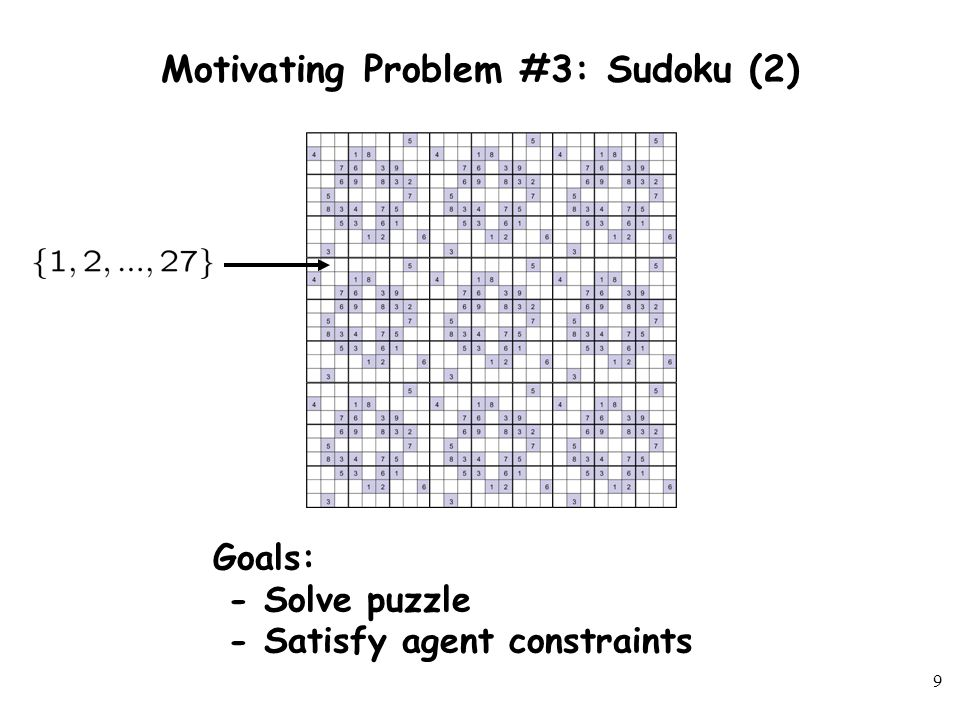 8 Motivating Problem #3: Sudoku Goals: - Solve puzzle - Satisfy agent constraints