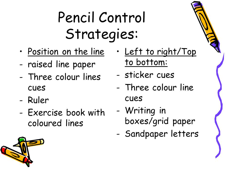Pencil Control Strategies: Position on the line -raised line paper -Three colour lines cues -Ruler -Exercise book with coloured lines Left to right/To