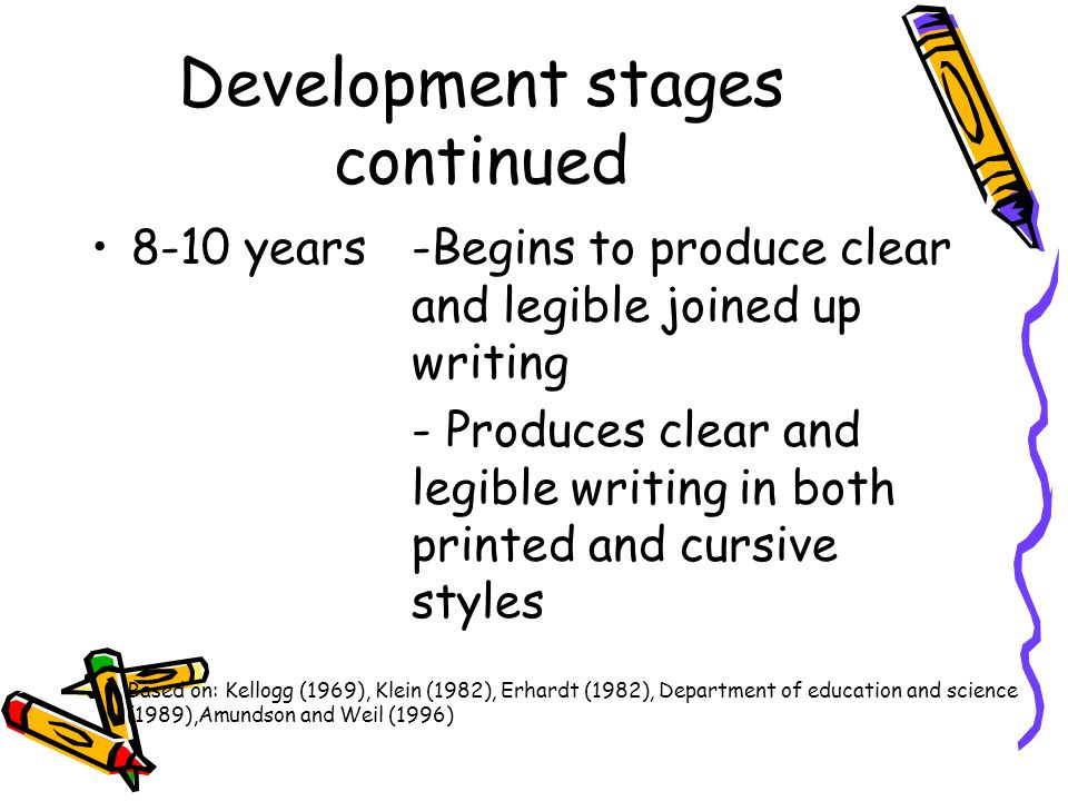 Development stages continued 8-10 years-Begins to produce clear and legible joined up writing - Produces clear and legible writing in both printed and
