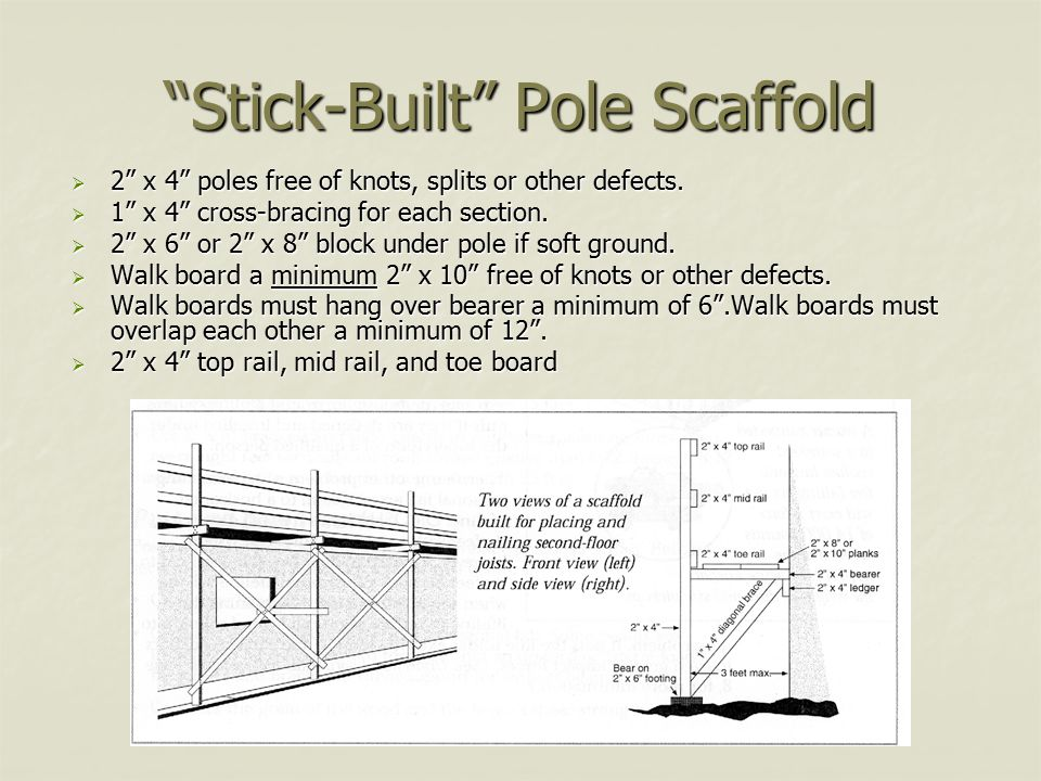 Stick-Built Pole Scaffold  2 x 4 poles free of knots, splits or other defects.