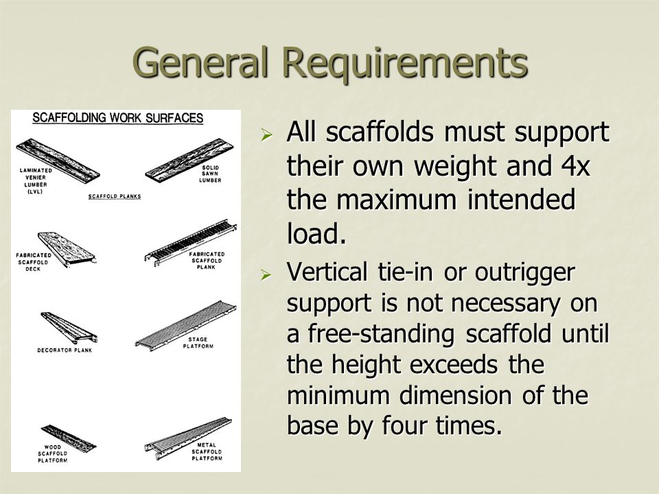 General Requirements  All scaffolds must support their own weight and 4x the maximum intended load.