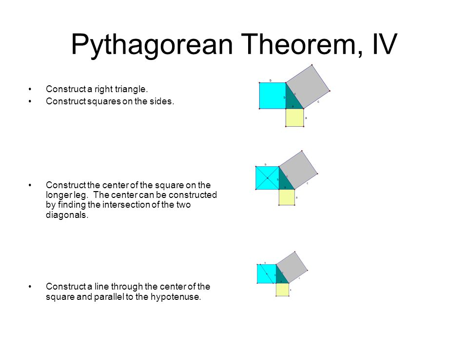 Pythagorean Theorem, IV Construct a line through the center of the square and perpendicular to the hypotenuse.