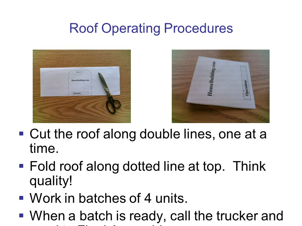 Roof Operating Procedures  Cut the roof along double lines, one at a time.