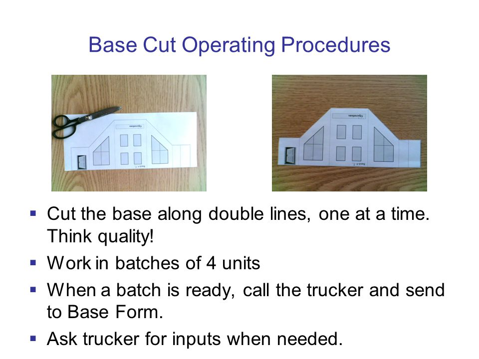 Base Cut Operating Procedures  Cut the base along double lines, one at a time.