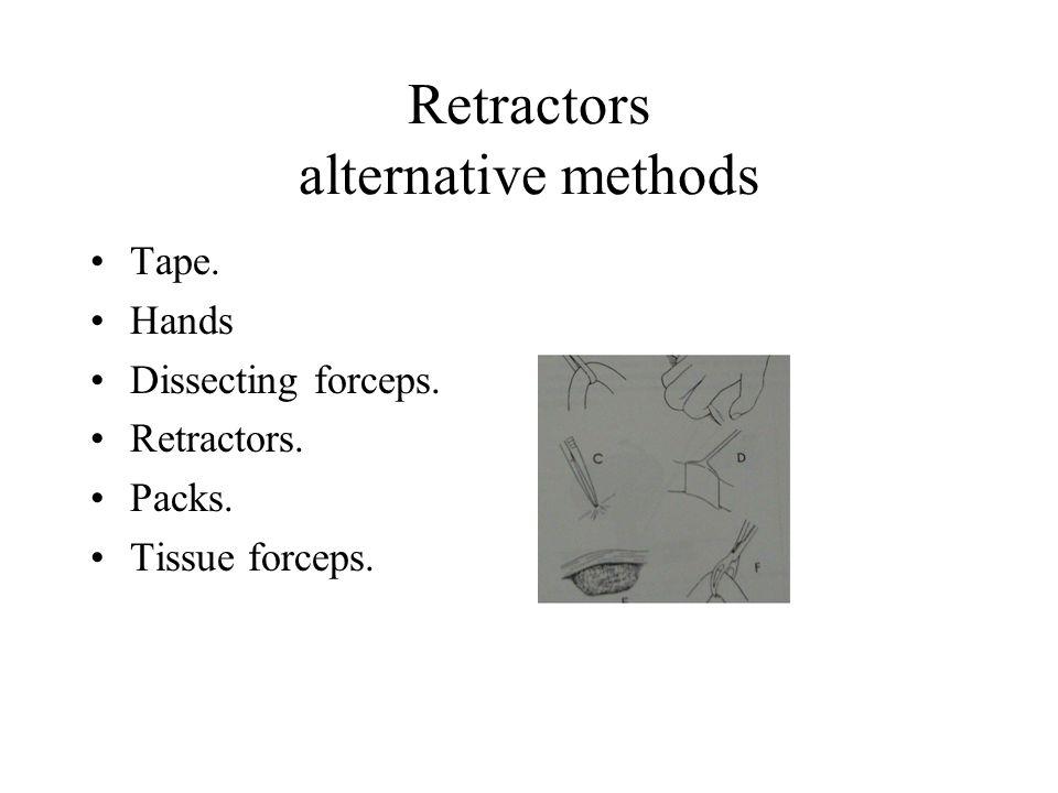 Retractors alternative methods Tape. Hands Dissecting forceps. Retractors. Packs. Tissue forceps.