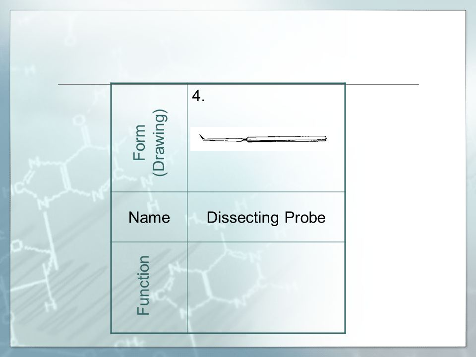 4. NameDissecting Probe Form (Drawing) Function