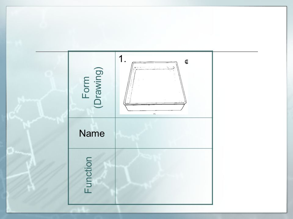 24. NameTest Tube Rack Holds test tubes. Form (Drawing) Function