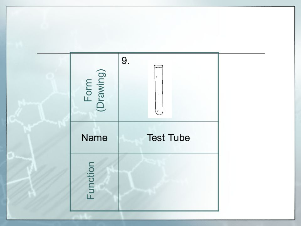 9. NameTest Tube Form (Drawing) Function