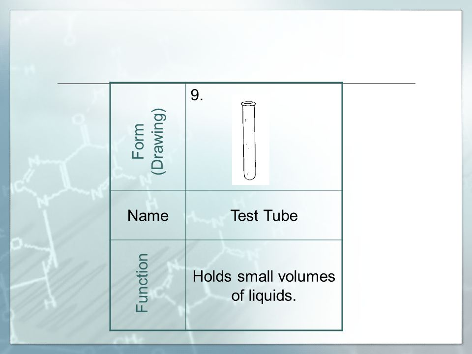 9. NameTest Tube Holds small volumes of liquids. Form (Drawing) Function
