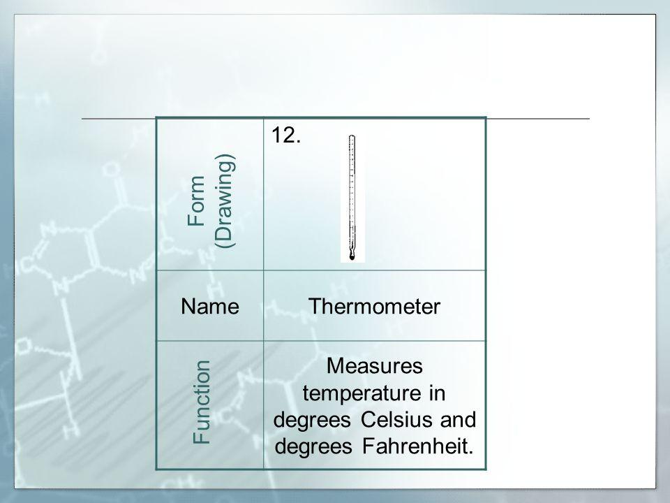 12. NameThermometer Measures temperature in degrees Celsius and degrees Fahrenheit.