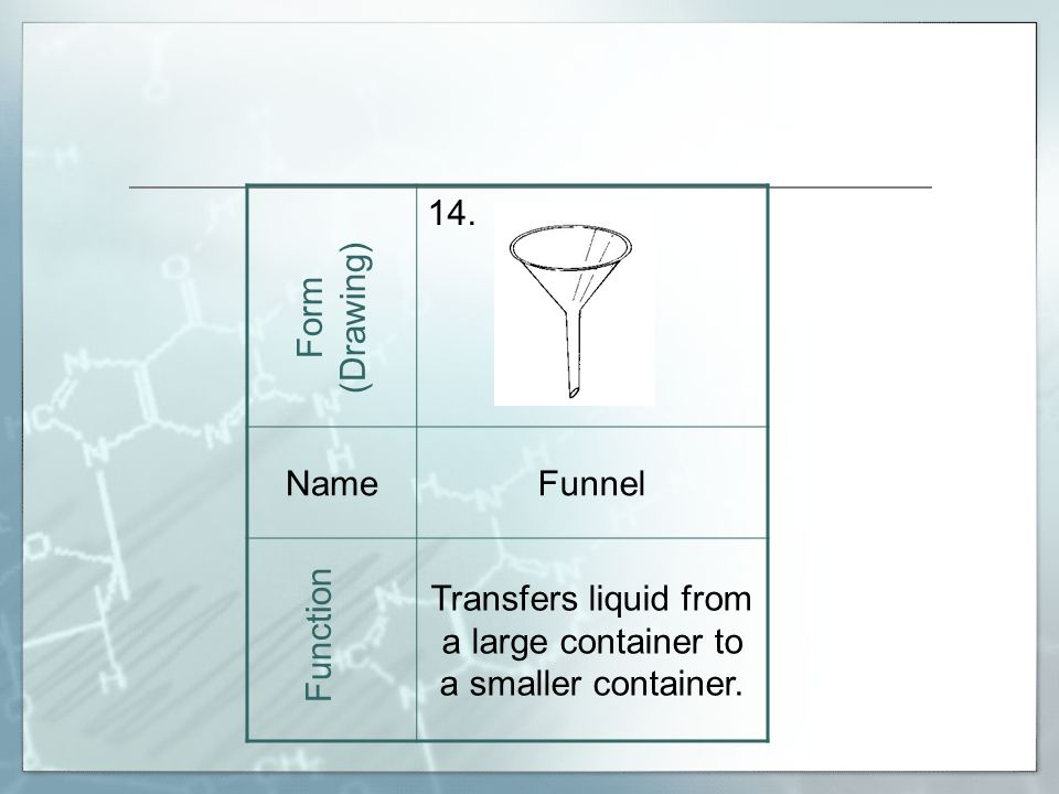 14. NameFunnel Transfers liquid from a large container to a smaller container.