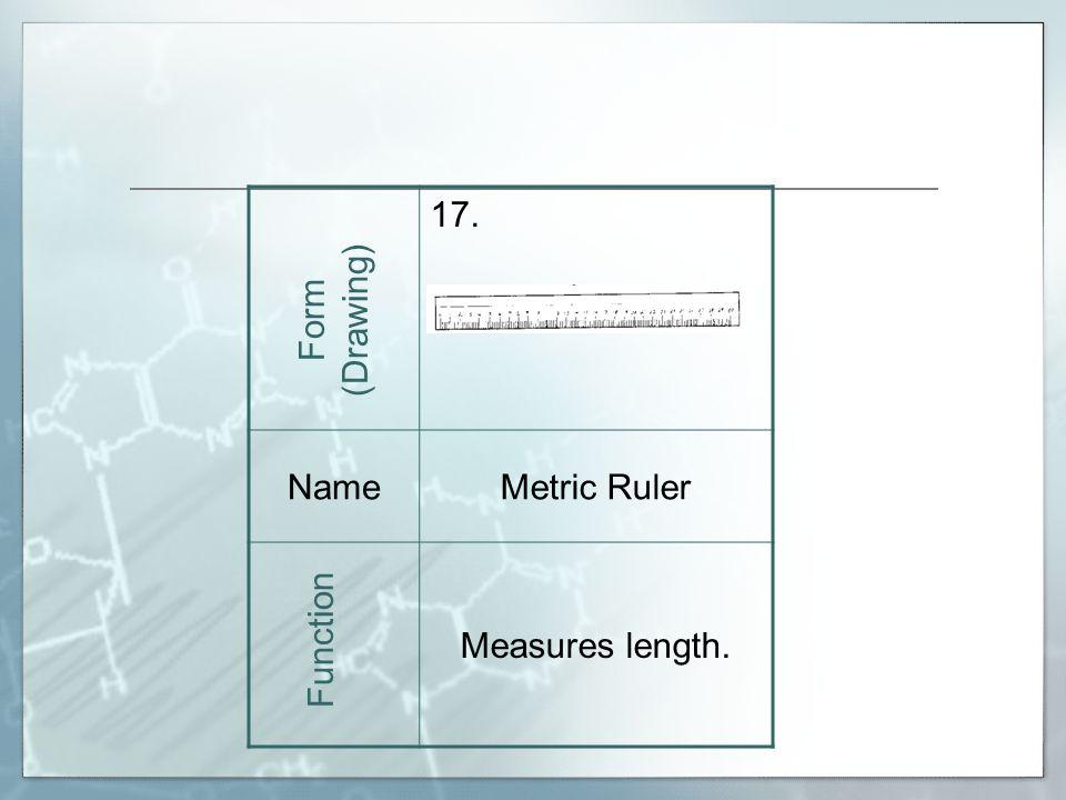 17. NameMetric Ruler Measures length. Form (Drawing) Function