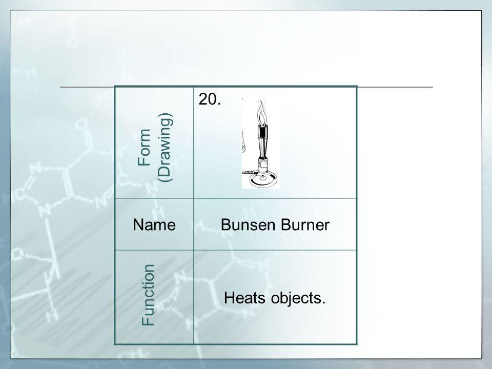 20. NameBunsen Burner Heats objects. Form (Drawing) Function