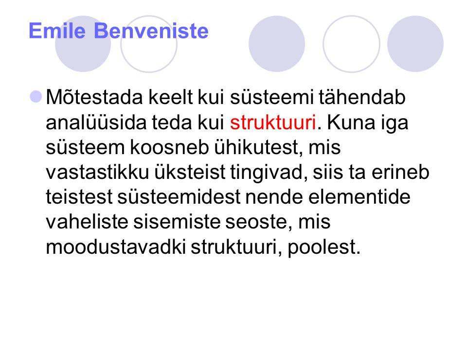 Emile Benveniste Mõtestada keelt kui süsteemi tähendab analüüsida teda kui struktuuri.