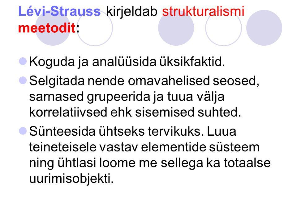 Lévi-Strauss kirjeldab strukturalismi meetodit: Koguda ja analüüsida üksikfaktid.