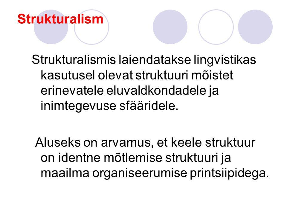 Strukturalism Strukturalismis laiendatakse lingvistikas kasutusel olevat struktuuri mõistet erinevatele eluvaldkondadele ja inimtegevuse sfääridele.