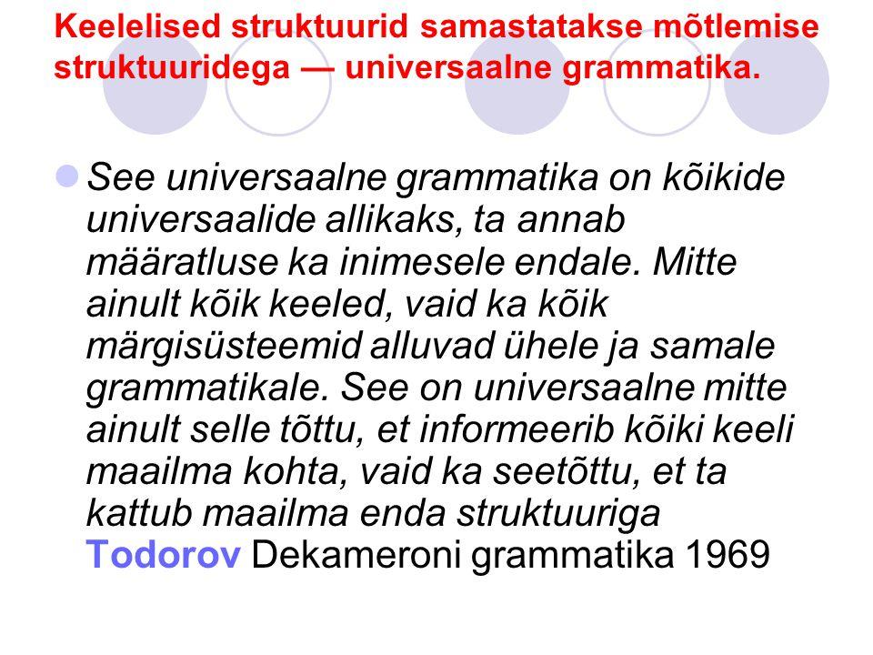 Keelelised struktuurid samastatakse mõtlemise struktuuridega — universaalne grammatika.