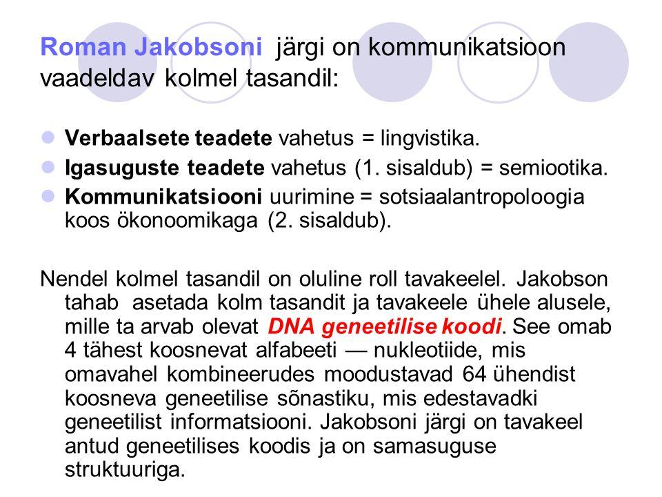 Roman Jakobsoni järgi on kommunikatsioon vaadeldav kolmel tasandil: Verbaalsete teadete vahetus = lingvistika.