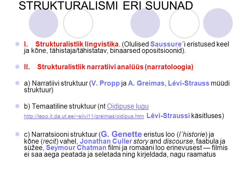 STRUKTURALISMI ERI SUUNAD I.Strukturalistlik lingvistika.