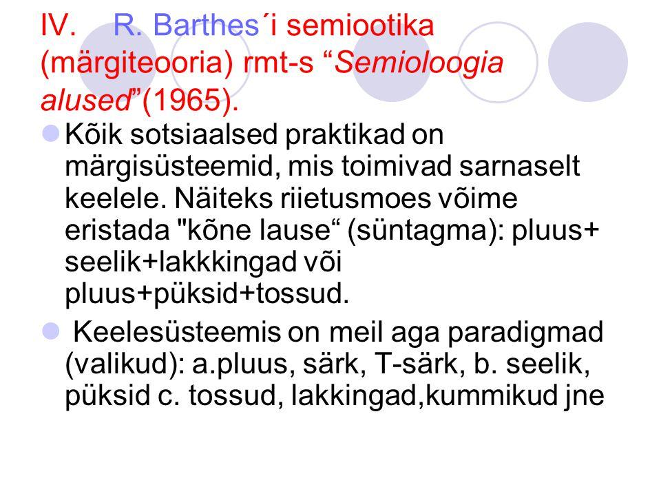 IV.R. Barthes´i semiootika (märgiteooria) rmt-s Semioloogia alused (1965).