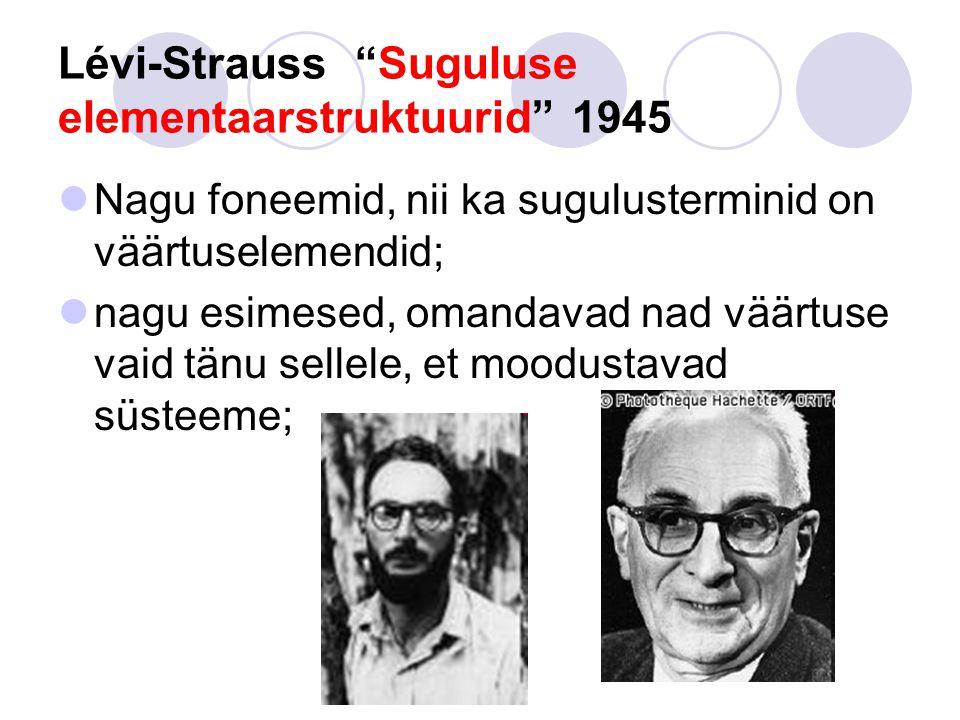Lévi-Strauss Suguluse elementaarstruktuurid 1945 Nagu foneemid, nii ka sugulusterminid on väärtuselemendid; nagu esimesed, omandavad nad väärtuse vaid tänu sellele, et moodustavad süsteeme;