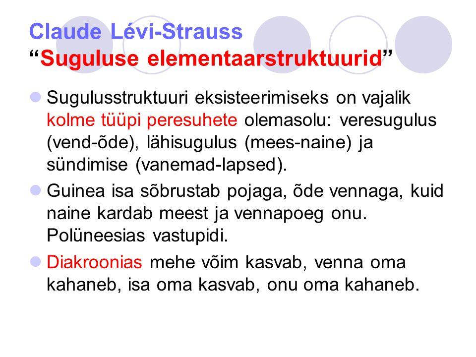 Claude Lévi-Strauss Suguluse elementaarstruktuurid Sugulusstruktuuri eksisteerimiseks on vajalik kolme tüüpi peresuhete olemasolu: veresugulus (vend-õde), lähisugulus (mees-naine) ja sündimise (vanemad-lapsed).