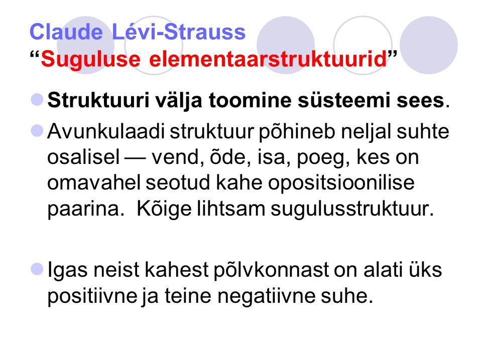 Claude Lévi-Strauss Suguluse elementaarstruktuurid Struktuuri välja toomine süsteemi sees.