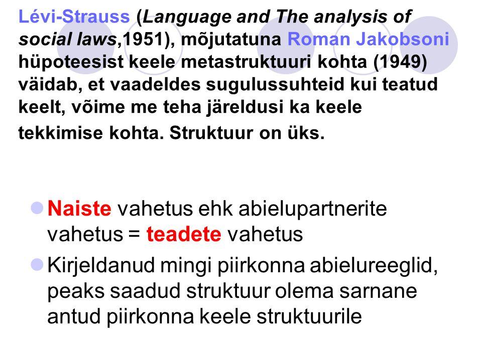 Lévi-Strauss (Language and The analysis of social laws,1951), mõjutatuna Roman Jakobsoni hüpoteesist keele metastruktuuri kohta (1949) väidab, et vaadeldes sugulussuhteid kui teatud keelt, võime me teha järeldusi ka keele tekkimise kohta.