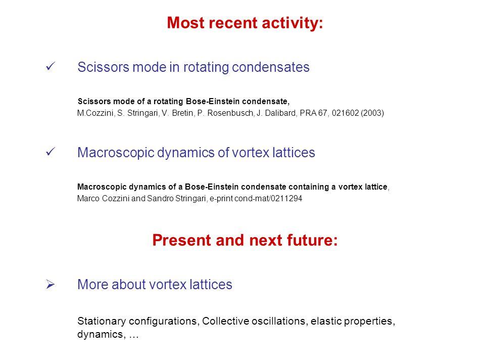 Most recent activity: Scissors mode in rotating condensates Scissors mode of a rotating Bose-Einstein condensate, M.Cozzini, S.