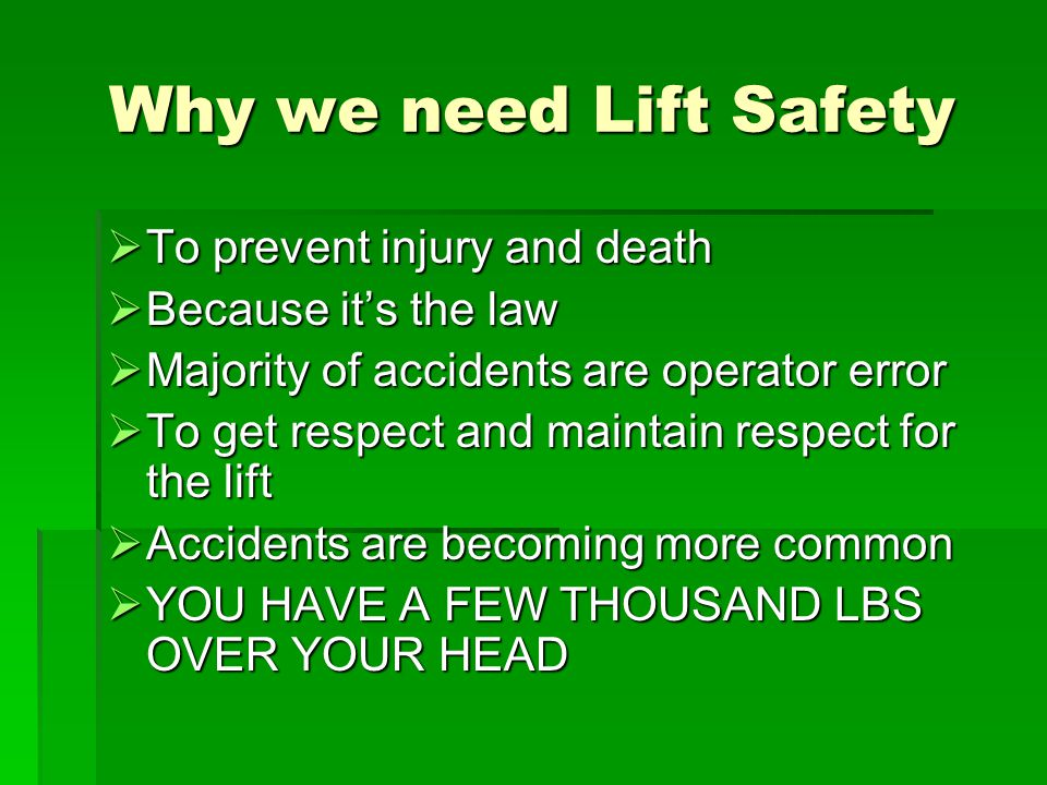 Description of Safety Features for 4 Post Lifts Emergency Electrical Shut-off / Disconnect  Should be a twist plug connection or switch / breaker within reach of the operator