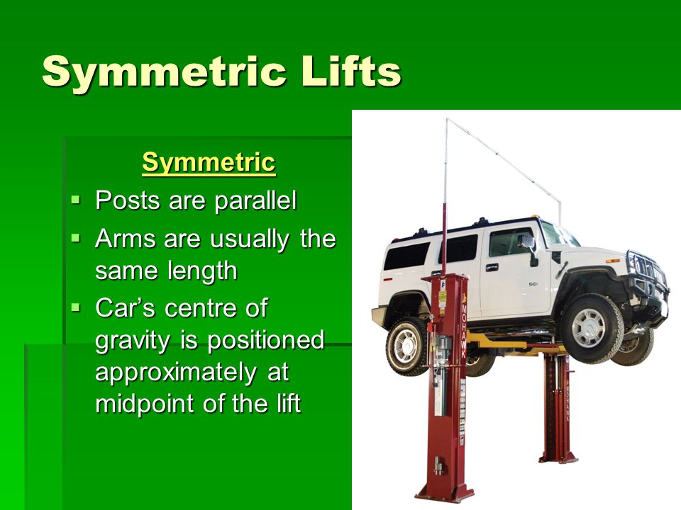Asymmetric Asymmetric  Posts are tilted approximately 30degrees for easier access to car doors  Short arms in the front  Car's center of gravity is positioned further rear