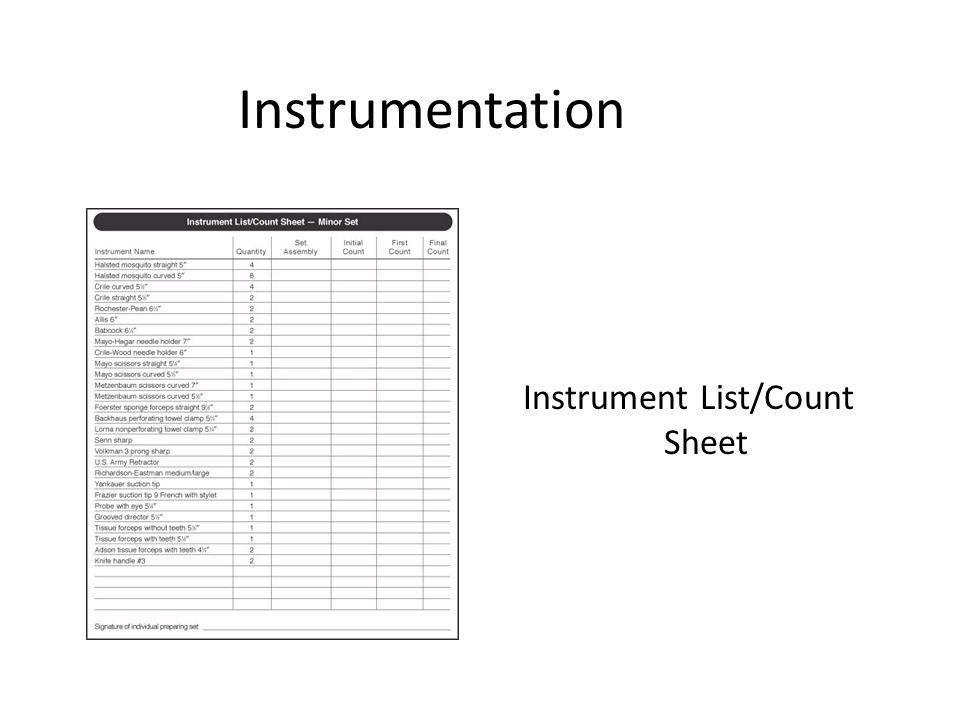 Instrumentation Instrument List/Count Sheet