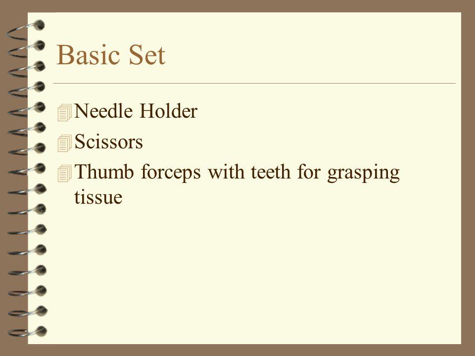Basic Set 4 Needle Holder 4 Scissors 4 Thumb forceps with teeth for grasping tissue