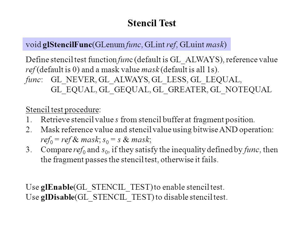void glStencilOp(GLenum fail, GLenum zfail, GLenum zpass) Define actions to take on stencil buffer values.
