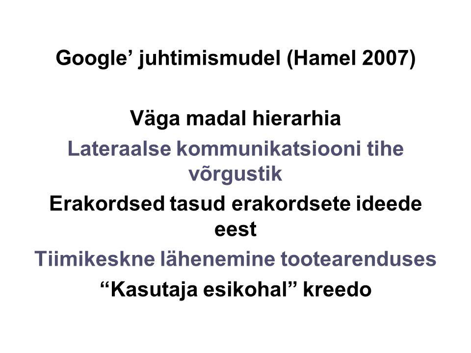 Google' juhtimismudel (Hamel 2007) Väga madal hierarhia Lateraalse kommunikatsiooni tihe võrgustik Erakordsed tasud erakordsete ideede eest Tiimikeskne lähenemine tootearenduses Kasutaja esikohal kreedo