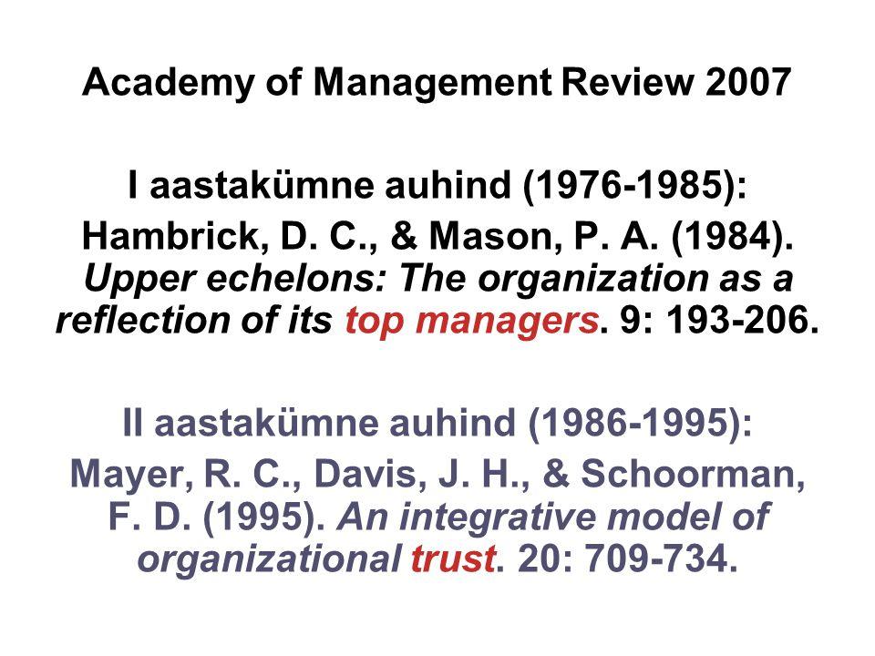 Academy of Management Review 2007 I aastakümne auhind (1976-1985): Hambrick, D.