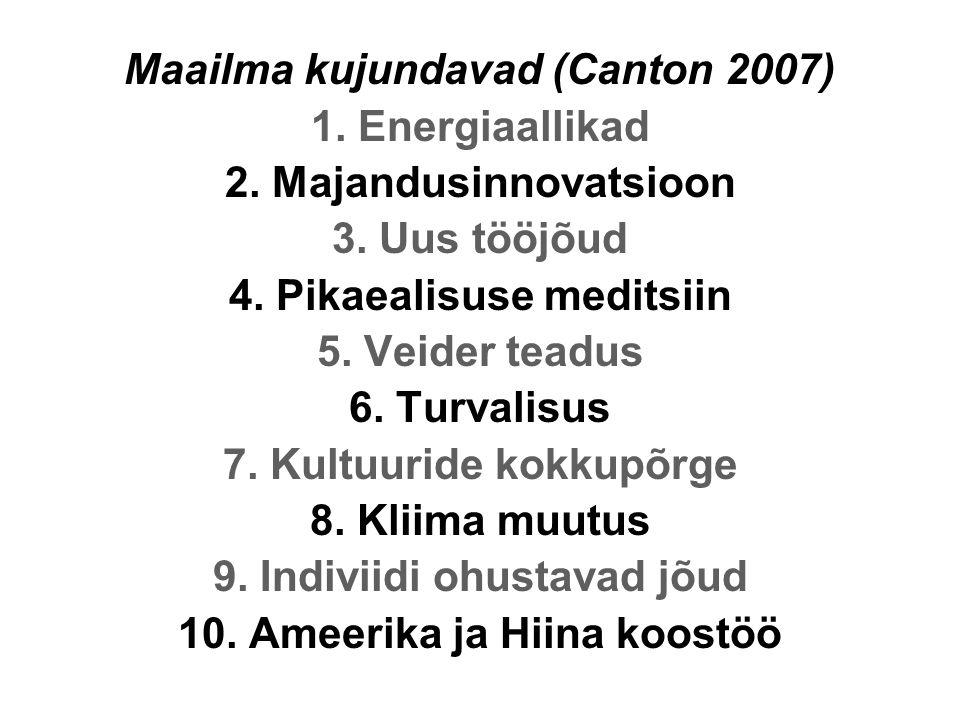Maailma kujundavad (Canton 2007) 1. Energiaallikad 2.