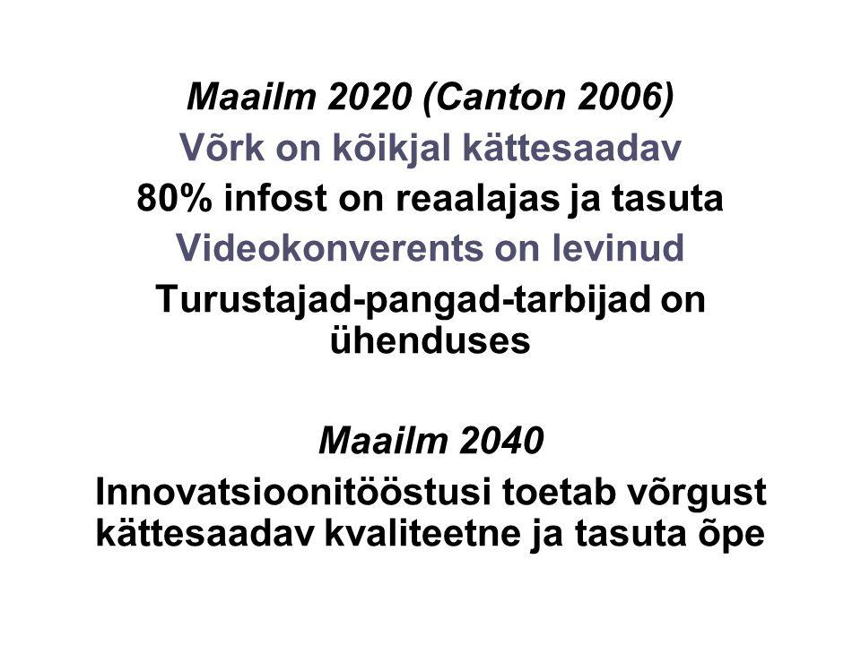 Maailm 2020 (Canton 2006) Võrk on kõikjal kättesaadav 80% infost on reaalajas ja tasuta Videokonverents on levinud Turustajad-pangad-tarbijad on ühenduses Maailm 2040 Innovatsioonitööstusi toetab võrgust kättesaadav kvaliteetne ja tasuta õpe