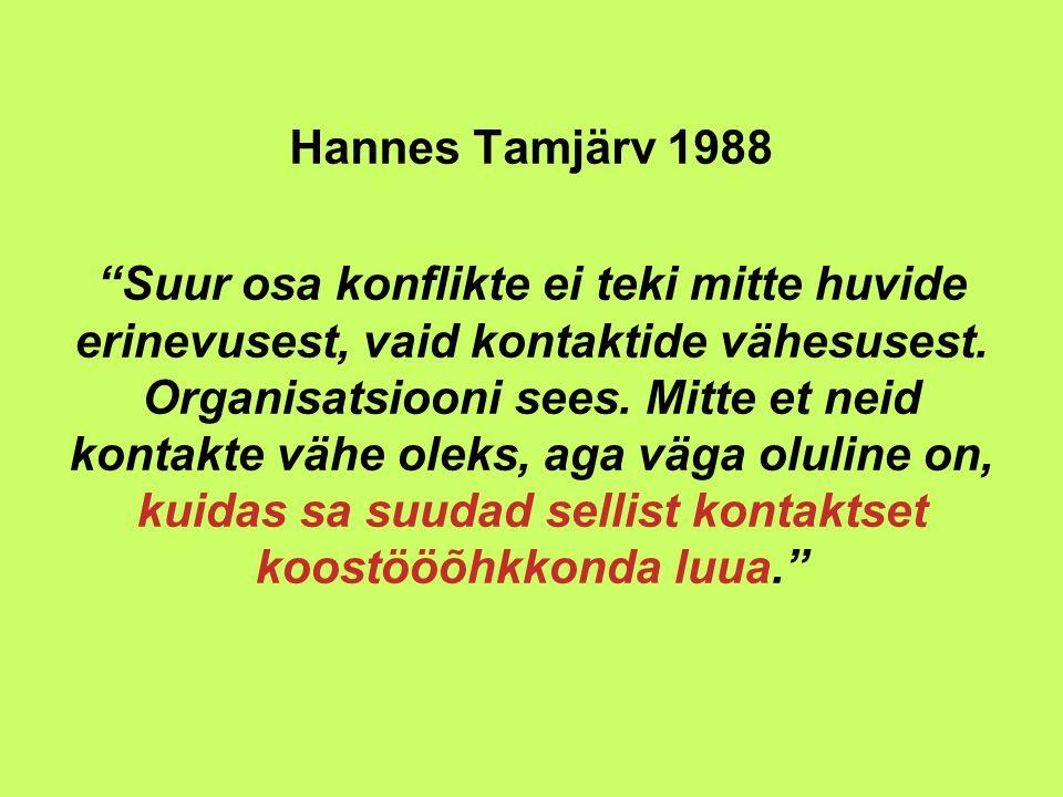 Hannes Tamjärv 1988 Suur osa konflikte ei teki mitte huvide erinevusest, vaid kontaktide vähesusest.