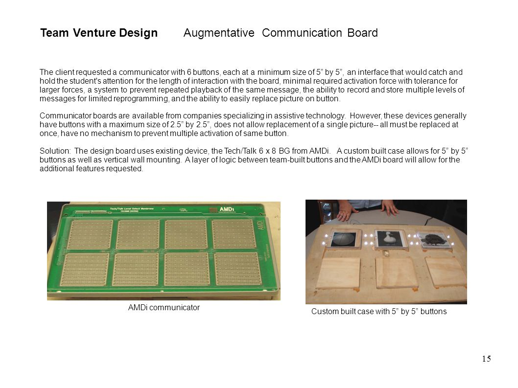 15 Team Venture Design Augmentative Communication Board The client requested a communicator with 6 buttons, each at a minimum size of 5 by 5 , an interface that would catch and hold the student s attention for the length of interaction with the board, minimal required activation force with tolerance for larger forces, a system to prevent repeated playback of the same message, the ability to record and store multiple levels of messages for limited reprogramming, and the ability to easily replace picture on button.