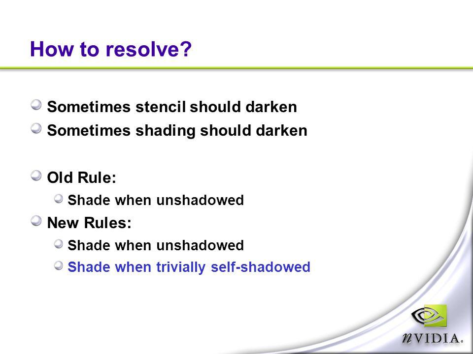 How to resolve? Sometimes stencil should darken Sometimes shading should darken Old Rule: Shade when unshadowed New Rules: Shade when unshadowed Shade