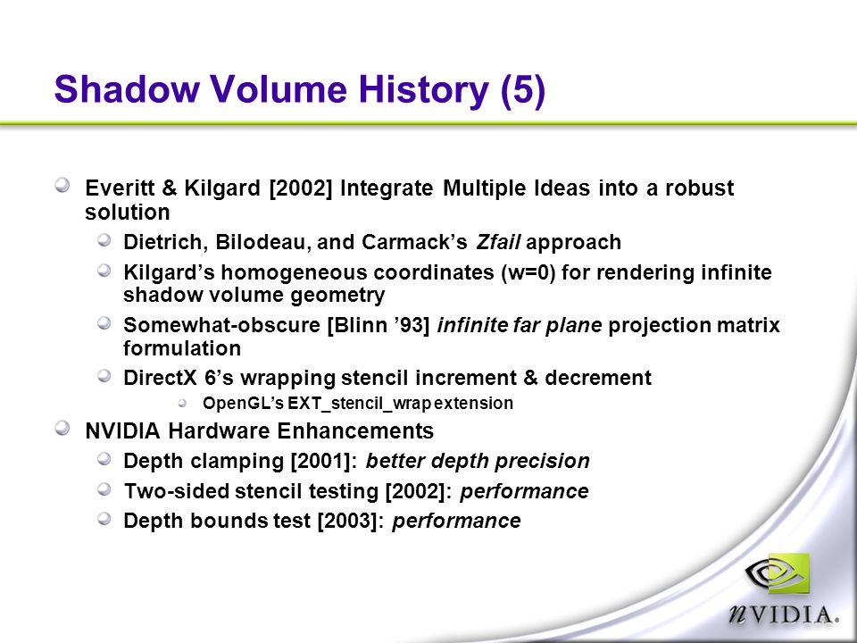 Shadow Volume History (5) Everitt & Kilgard [2002] Integrate Multiple Ideas into a robust solution Dietrich, Bilodeau, and Carmack's Zfail approach Ki