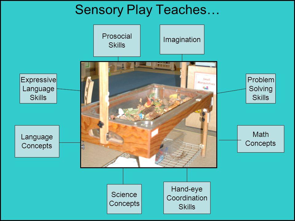 Sensory Play Teaches… Language Concepts Science Concepts Math Concepts Expressive Language Skills Hand-eye Coordination Skills Problem Solving Skills