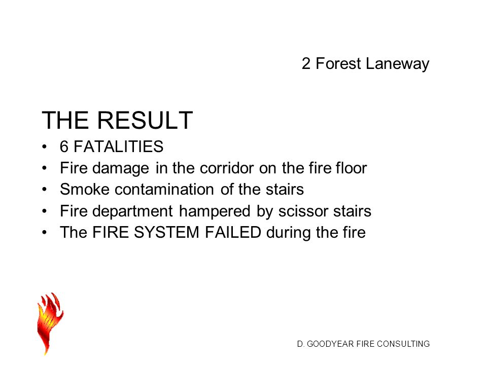 D. GOODYEAR FIRE CONSULTING THE RESULT 6 FATALITIES Fire damage in the corridor on the fire floor Smoke contamination of the stairs Fire department ha