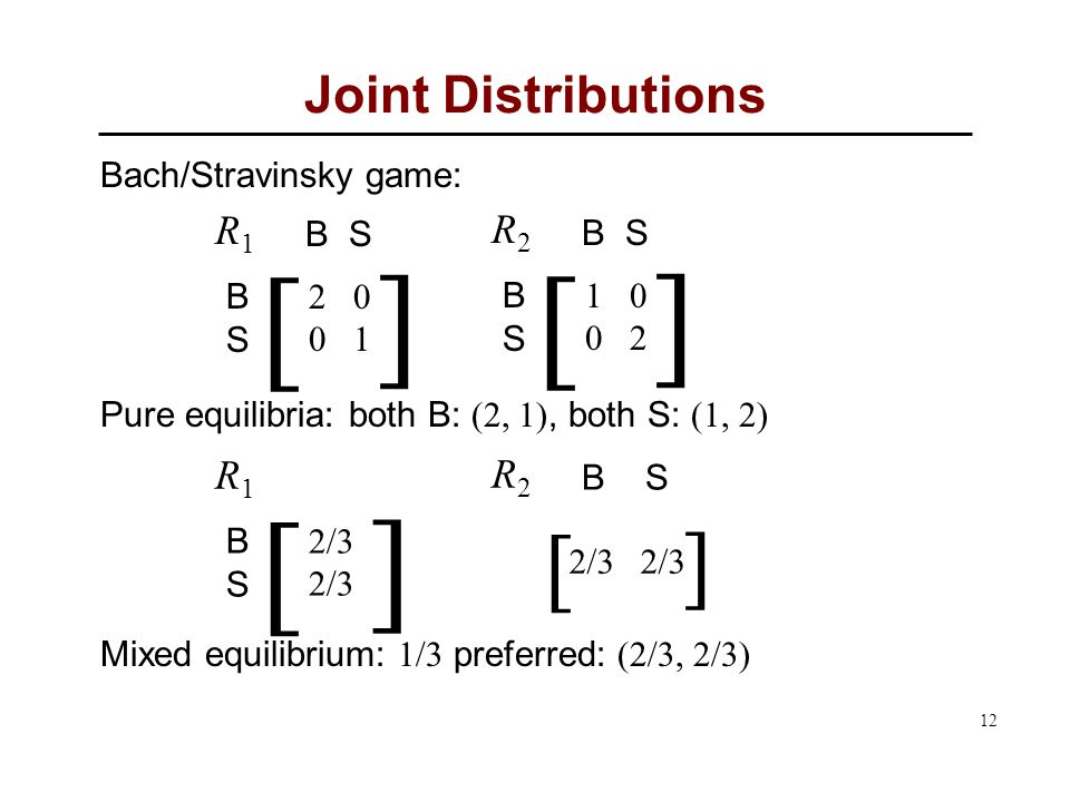12 Joint Distributions Bach/Stravinsky game: Pure equilibria: both B: (2, 1), both S: (1, 2) Mixed equilibrium: 1/3 preferred: (2/3, 2/3)  BSBS  R1R1 B S - 2 0 - 0 1  BSBS  R2R2 B S - 1 0 - 0 2  BSBS  R1R1 - 2/3   R2R2 B S 2/3 2/3