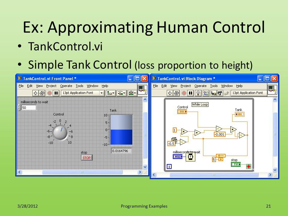 Ex: Approximating Human Control TankControl.vi Simple Tank Control (loss proportion to height) 3/28/2012Programming Examples21